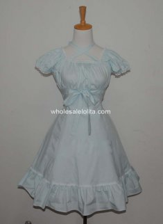 Romantic Classic Princess Chiffon Lolita Dress Sky Blue Short Sleeves Costume