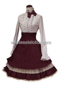 Vermeil and White Long Sleeves Cotton Lolita Suit