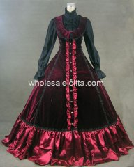 Gothic Burgundy Pleuche and Satin Historical Victorian Outfit Reproduction Costume