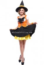 Lovely Orange Adult Witch Halloween Costume Masquerade Party Dress