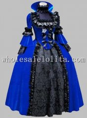 Deluxe Gothic Blue and Black Renaissance Queen Costume/Carnival Themed Costume