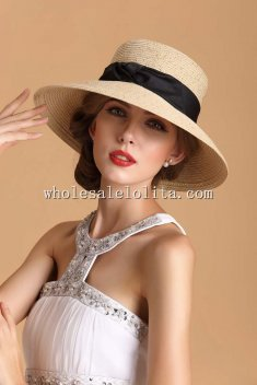 British Audrey Hepburn Paper Straw Wide Birm Ladies Sun Hat