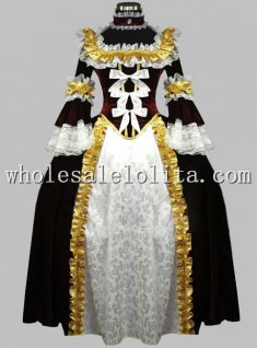 Deluxe Chocolate & White Renaissance Queen Costume/Carnival Themed Costume