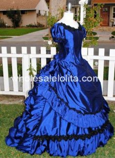Custom Made Blue Claudia's Gown Vampire Ball Gown Gothic Wedding Victorian Gown