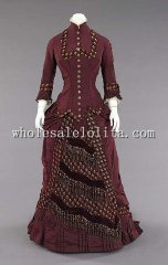 Historical 1880 Silk Tassel Train Victorian Bustle Dinner Dress