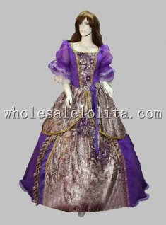 Gothic European Court Ball Gown Purple Marie Antoinette Era Celebrity Prom Dress