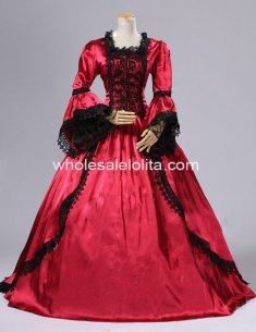 18th Century Red Satin & Black Lace Overlay Marie Antoinette Period Dress Ball Gown/Performance Clothing