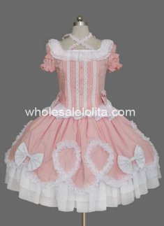 Top Sale Pink Puff Sleeves Cotton Sweet Lolita Dress