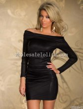 Off the Shoulder Long Sleeves Ruched Club Dress