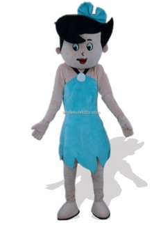 Blue Dressed Girl Plush Mascot Costume