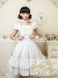 Princess White Short Sleeves Cotton Sweet Lolita Dress
