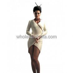 White Asymmetrical Latex Stewardess Uniform