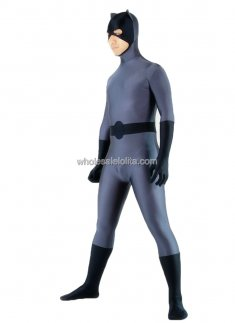Grey with Black Spandex Zentai Batman Costume