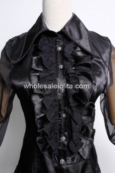 Black Lace Full Gothic Lolita Blouse