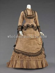 1870s American Culture Silk Early Victorian Bustle Walking Dress