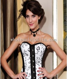Elegant White and Black Floral Print Overbust Corset