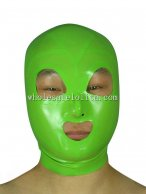 100% Handmade Green Latex Rubber Hood Mask Open Eye Mouth Nose