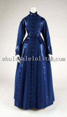Custom Made 19th Century Royal Blue Wool Victorian Bustle Dressing Gown