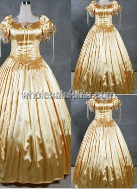 Gold Satin Short Sleeve Southern Belle Ball Gown Prom Dress Wedding Theatre Clothing