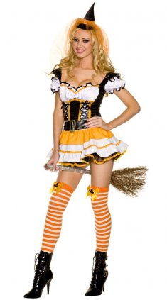 Sexy Low-cut Design Orange Ladies Witch Costume