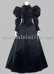 Gothic Black Silk-like Victorian 1870/90s Era Dress