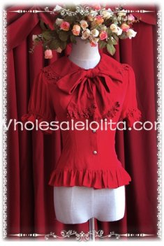 Ladies Red Chiffon Big Bow Tie Short Sleeves Lolita Blouse
