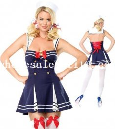 Sexy Blue Female Navy/Sailor Halloween Costume Role Cosplay Dress