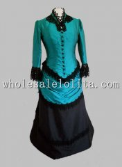 1880s Teal and Black Victorian Bustle Ball Gown Prom Dress