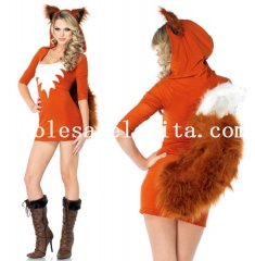 Charming Adult Fox Cosplay Faux Fur Animal Halloween Costume