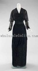 1910s Early 20th Century Edwardian Fashion American Silk Evening Dress