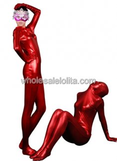 Red Full body Shiny Metalic Catsuit