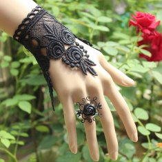 Vintage Lace Bracelet and Ring Black Gothic Bracelet