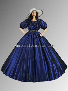 Civil War Dark Blue Taffeta Wide Dress Ball Gown with Wide Skirt Multiple Colors Available