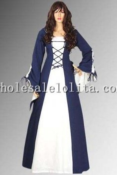 16th Century Medieval Renaissance Maiden Dress Costume Clothing Gown with Hood Handmade 100% Cotton