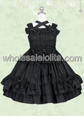 Classic Pure Pleated Black Sweet Lolita Dress