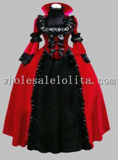 Deluxe Black & Red Gothic Renaissance Queen Costume/Carnival Themed Costume