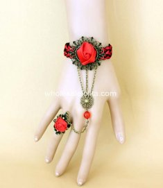 Gothic Rpyal Court Red Rose Bronze Ladies Bracelet & Ring