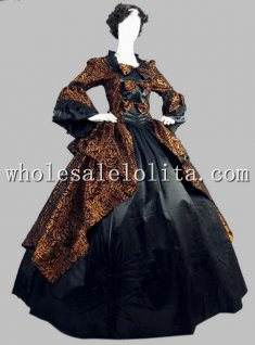 18th Century Gold and Black Brocade & Satin Marie Antoinette Period Dress Performance Clothing