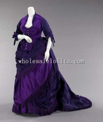 1872 French Culture Early Bustle Victorian Afternoon Dress