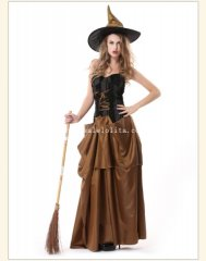 2014 Halloween Witch Cosplay Long Costume Party Dress with Hat