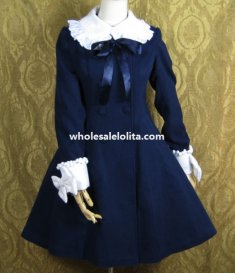 Sweet Navy Blue Wool Lolita Coat Autumn/Winter