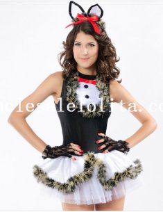 Fluzzy Decor Lovely Cat Girl Mini Dress