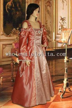 Custom Made 16/17th Century Coral Taffeta Renaissance or Medieval Style Dress