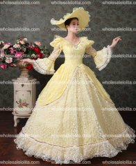 Renaissance Colonial Floral Brocade Lace Dress Gown Theatrical Clothing