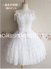 Sweet Princess White Spaghetti Straps Chiffon JSK Lolita Dress