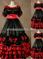 Gothic Black and Red Civil War Southern Belle Dance Ball Gown Halloween Cosplay Dress