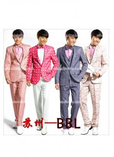 Four Piece Prince Flower Print Suits Mens Costume