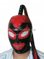 Halloween Black & Red Latex Hood Mask with Pony Tial Open Eyes Face Rivet