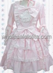 Light Pink Bow Lace Ruffles Cotton Sweet Lolita Dress