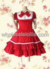 Red Short Sleeveles Ruffle Cotton Classic Sweet Lolita Dress